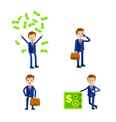 cartoon businessman character set vector image