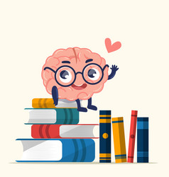 Character design cute brain for knowledge vector