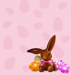 Chocolate easter bunny background vector