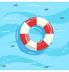 Classic Life Preserver Ring Buoy With Blue Sea vector