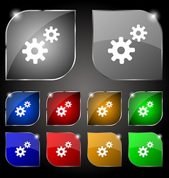 Cog settings Cogwheel gear mechanism icon sign Set vector