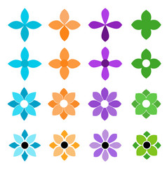 colorful flower icon set on a white background vector image