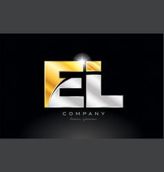 combination letter el e l alphabet with gold vector image