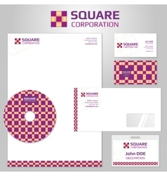 Corporate identity templates with square vector