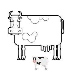 Cow coloring book of farm animals vector image