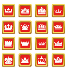 crown gold icons set red square vector image