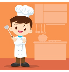 Cute boy Chef look smart vector