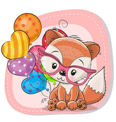 Cute cartoon fox with balloon vector