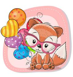 Cute cartoon fox with balloon vector