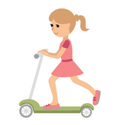 cute little girl on scooter vector image vector image