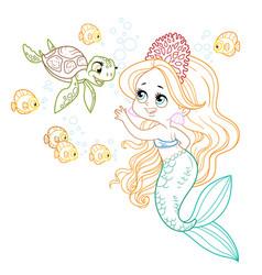 Cute little mermaid girl in coral tiara vector