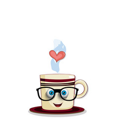 cute steaming brown cup in eyeglasses vector image