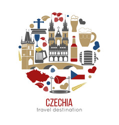 Czech republic culture symbol set vector