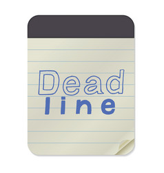 deadline lettering on notebook template vector image