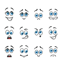 Different Emotions With Blue Eyes Vector ...