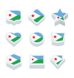 Djibouti flags icons and button set nine styles vector