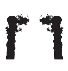 Dragon Post Silhouettes on the white background vector image