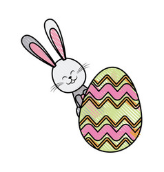 drawing easter rabbit funny decoration vector image