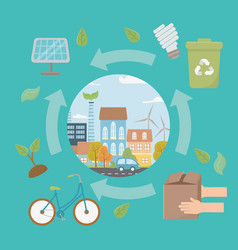 eco city and save planet design vector image