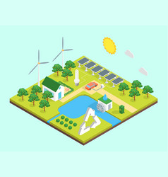 ecology green energy consumption concept 3d vector image