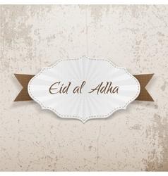 Eid al-Adha greeting paper Emblem vector