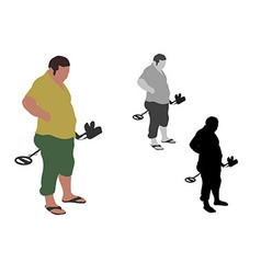 Fat Man with slippers standing with metal detector vector