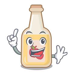 Finger bottle apple cider above cartoon table vector