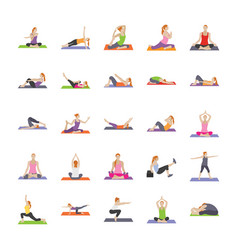 Fitness exercises flat icons vector