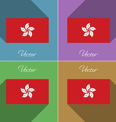 Flags Hong Kong Set of colors flat design and long vector