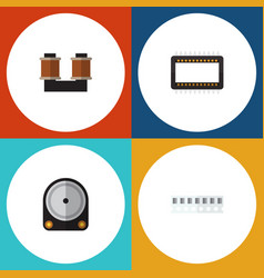 Flat icon appliance set of mainframe hdd coil vector