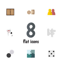 Flat icon play set of chequer dice people and vector