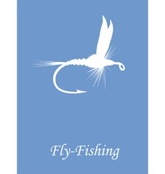 Fly-fishing on blue background vector