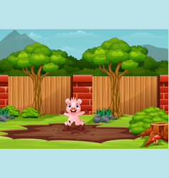 Funny pig playing in mud vector