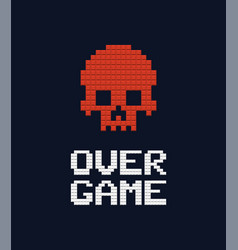 game over text and red skull 8 bit vector image