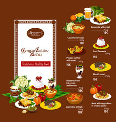 german cuisine menu with restaurant dishes vector image