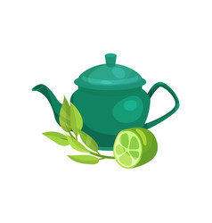 green ceramic teapot lime fruit and a sprig of vector image