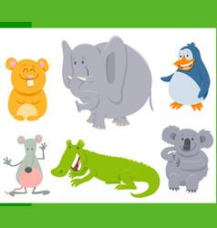 happy animal characters cartoon set vector image