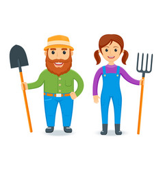 happy farmers set vector image