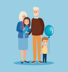 Happy grandparents together with girl and son vector