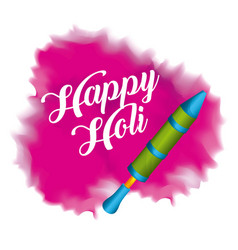 happy holi pichkary and pink splash color vector image