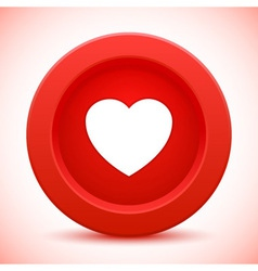 Heart red button vector
