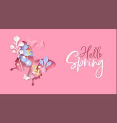 Hello spring pink flower butterfly paper cut card vector