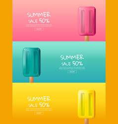 hot summer sale cartoon colorful ice cream vector image