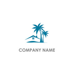 House resort palm tree tropic logo vector