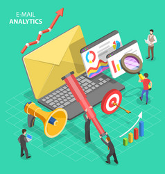 isometric concept email analytics vector image