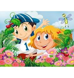 Kids amazed by the insects in the garden vector image