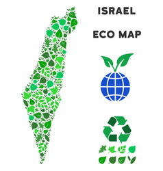 leaf green mosaic israel map vector image