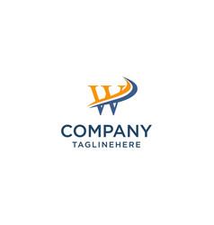 letter w luxury swoosh corporate logo design vector image
