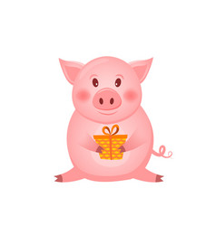 little pink pig character with present the year vector image