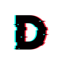 Logo letter d glitch distortion vector